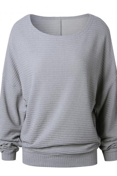 Women Knitted Sweater Spring Autumn Bat Long Sleeve Loose Oversized Pullover Tops gray