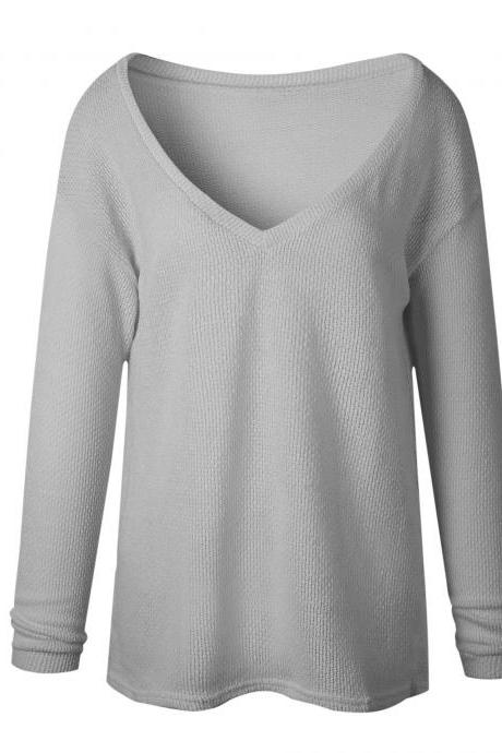 Women Knitted Sweater Spring Autumn V Neck Long Sleeve Casual Loose Top Pullover light gray