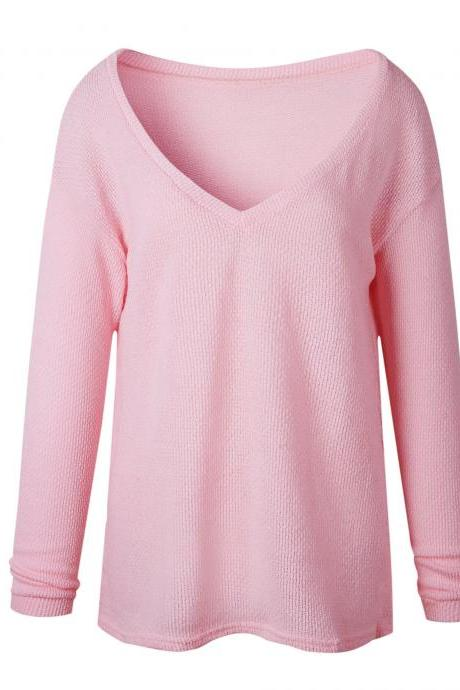 Women Knitted Sweater Spring Autumn V Neck Long Sleeve Casual Loose Top Pullover pink