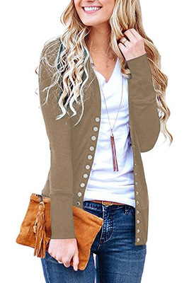 Women Cropped Cardigan V Neck Long Sleeve Button Slim Short Sweater Coat Jacket khaki