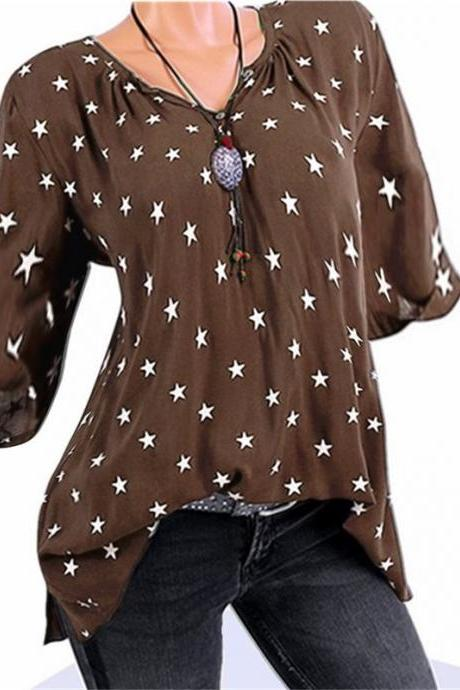 Plus Size Women T-Shirt Stars Printed 3/4 Sleeve Casual Loose V Neck Tops coffee