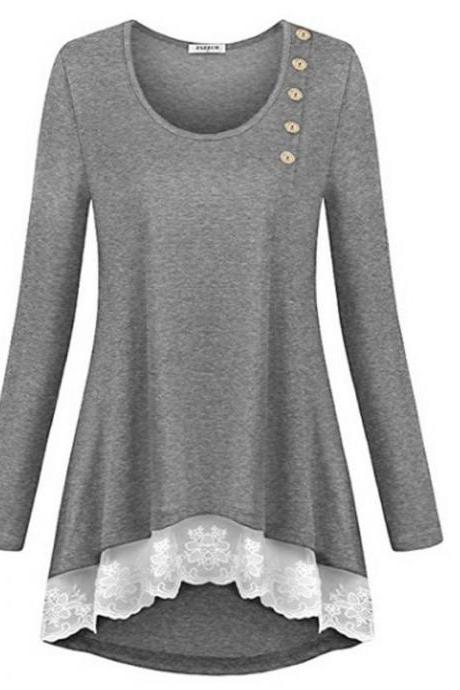Women Asymmetrical Tops Casual Loose Button Lace Edge Long Sleeve T Shirt Blouse gray