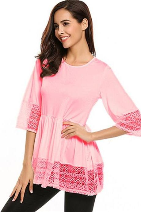 Plus Size Women Tops Shirt Lace 3/4 Sleeve Tunic Casual Loose Blouses pink