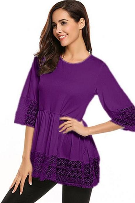 Plus Size Women Tops Shirt Lace 3/4 Sleeve Tunic Casual Loose Blouses purple