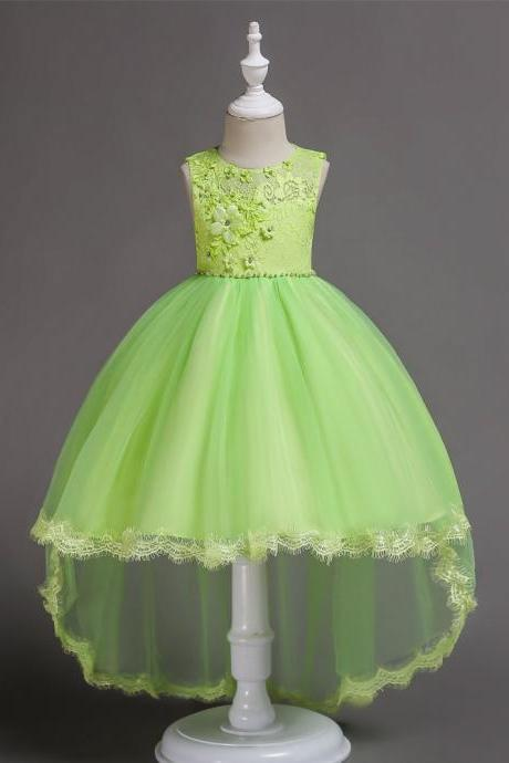 High Low Flower Girl Dress Princess Lace Wedding Birthday Party Gown Children Clothes pale green
