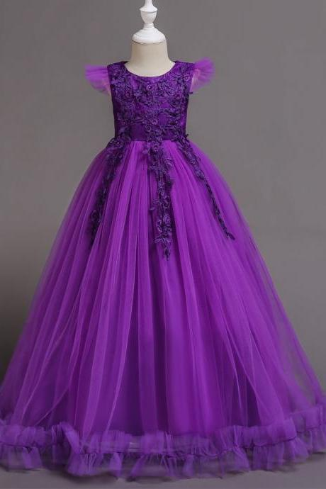 Long Flower Girl Dress Lace Cap Sleeve Formal Party Evening Gown Children Clothes purple