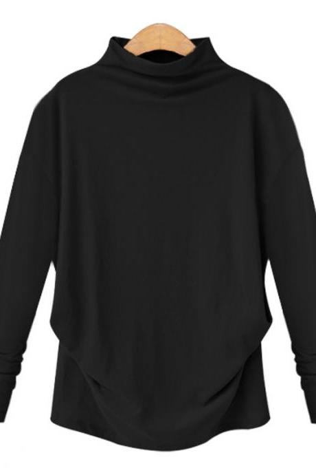Spring Autumn Women Tops Half High Neck Long Sleeve Solid Casual Loose Pullover black