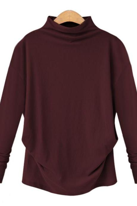 Spring Autumn Women Tops Half High Neck Long Sleeve Solid Casual Loose Pullover burgundy
