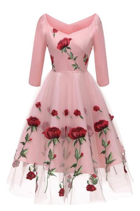 Embroidery Rose Women Casual Dress V Neck 3/4 Sleeve Floral Evening Party Dress pink