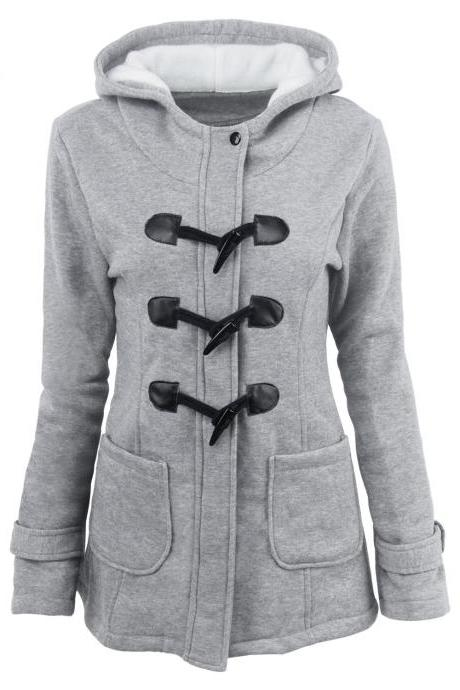 Women Parka Jacket Hooded Solid Warm Horns Buckle Winter Long Sleeve Slim Wadded Long Casual Coat gray