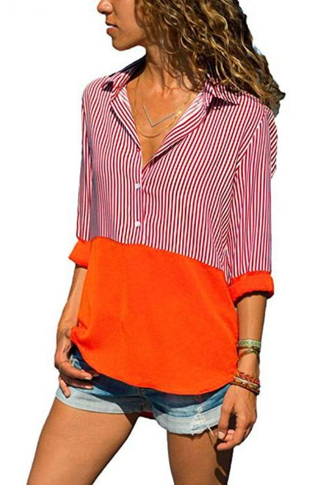 Women Striped Patchwork Tops Shirt V Neck Button Casual Long Sleeve Plus Size Blouses orange