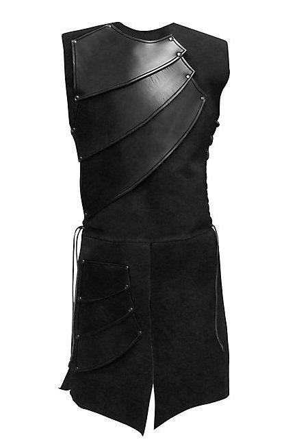 Men Costume Adult Sleeveless Patchwork Medieval Garments Middle Ages Cosplay Clothes black