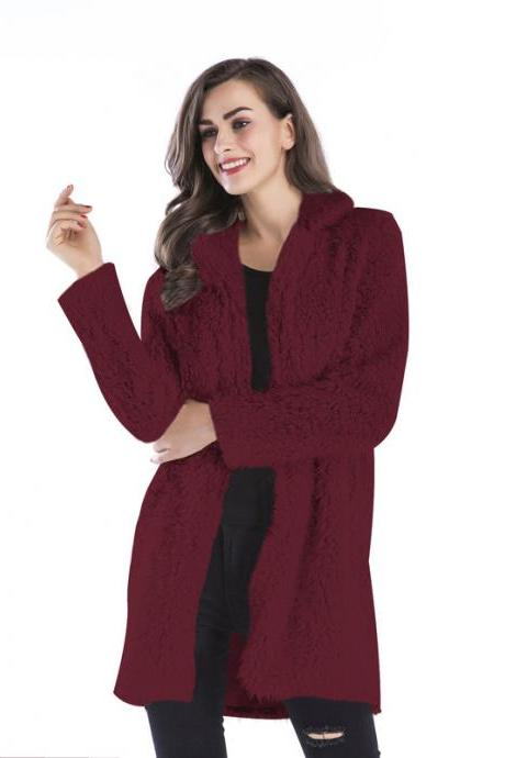 Women Faux Fur Long Coat Turn-Down Collar Winter Female Warm Furry Trench Jacket Outwear burgundy