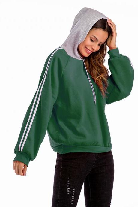 Women Hoodies Autumn Casual Long Sleeve Patchwork Loose Hooded Pullover Sweatshirts green