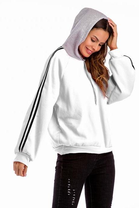 Women Hoodies Autumn Casual Long Sleeve Patchwork Loose Hooded Pullover Sweatshirts off white