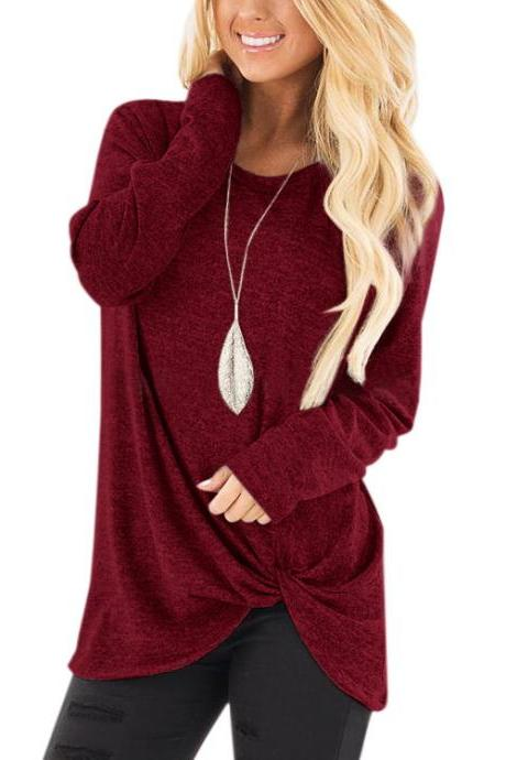Women Tops Tee Spring Autumn O Neck Casual Basic Loose Kink Long Sleeve T-Shirt burgundy