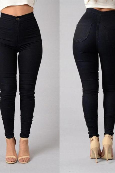 Women Pencil Pants Candy High Waist Casual Slim Female Stretch Skinny Trousers black