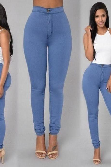 Women Pencil Pants Candy High Waist Casual Slim Female Stretch Skinny Trousers light blue