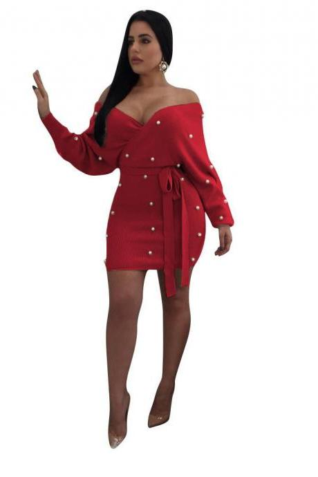 Women Bodycon Dress Pearls Off Shoulder Long Sleeve Backless Wrap Mini Club Party Dress red