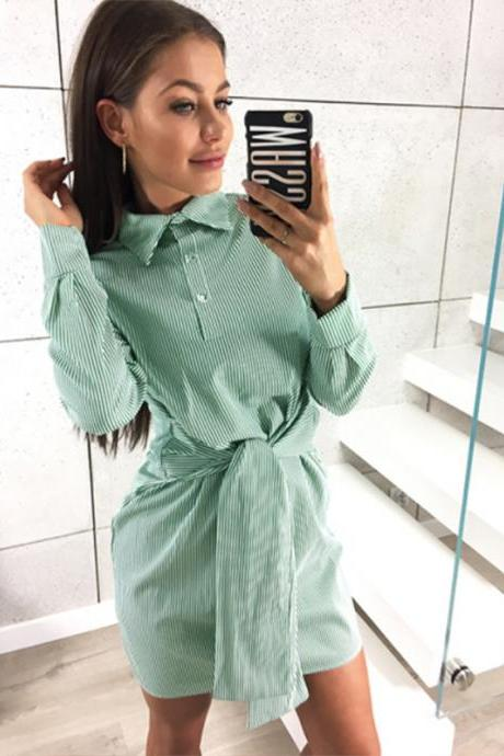 Women Striped Shirt Dress Tie Waist Long Sleeve Casual Slim Plus Size Mini Club Party Dress green