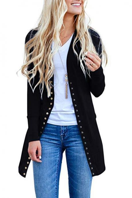 Women Knitted Cardigan V Neck Button Long Sleeve Autumn Casual Slim Sweater Coat black