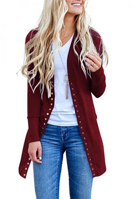 Women Knitted Cardigan V Neck Button Long Sleeve Autumn Casual Slim Sweater Coat burgundy