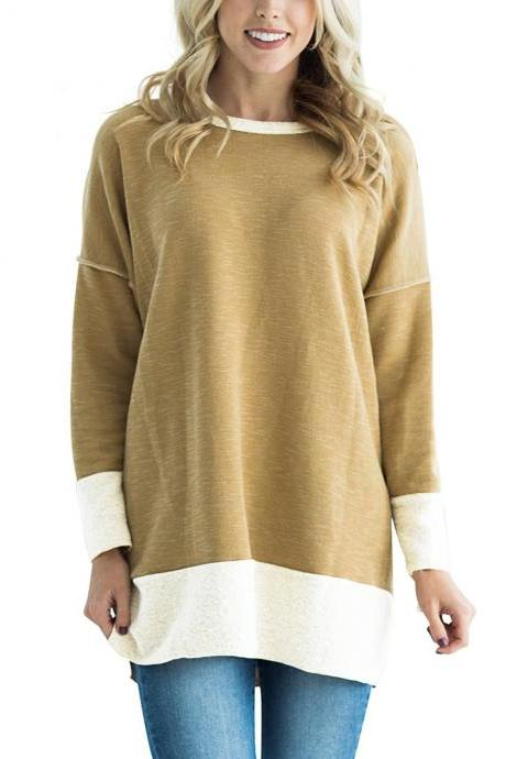 Women Long Sleeve T-Shirt O-Neck Patchwork Spring Autumn Casual Loose Tees Tops khaki