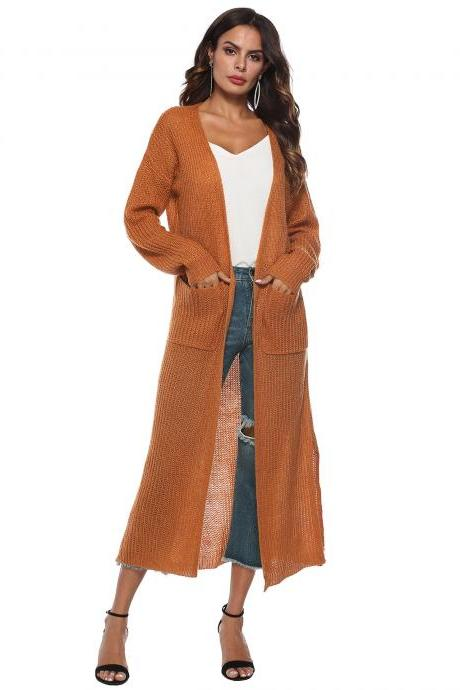 Women Long Sweater Cardigan Autumn Casual Long Sleeve Open Stitch Pockets Side Split Coat Jacket earth yellow