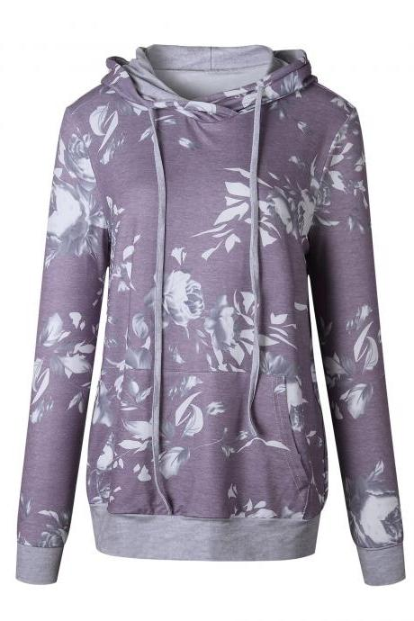 Women Floral Printed Hoodie Autumn Casual Pocket Long Sleeve Hooded Slim Sweatshirts 0545-purple