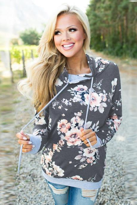 Women Floral Printed Hoodie Autumn Casual Pocket Long Sleeve Hooded Slim Sweatshirts 0552-dark gray