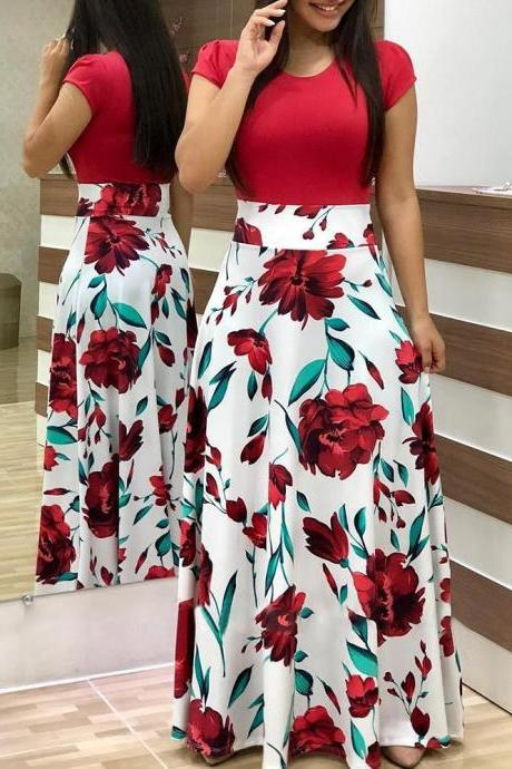 Women Floral Printed Maxi Dress Short Sleeve Boho Summer Beach Casual Long Party Dress red