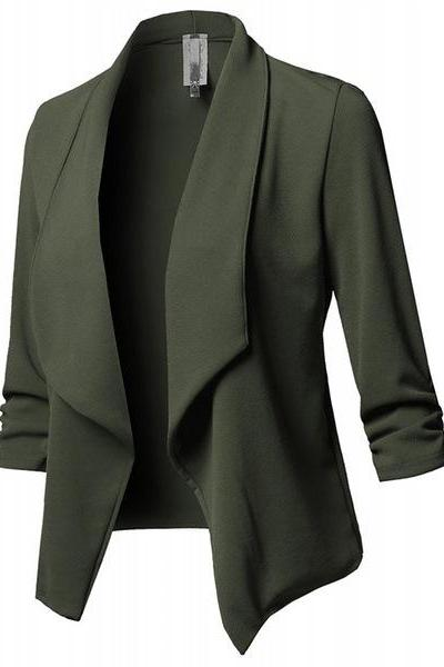 Women Suit Coat Casual Long Sleeve Autumn Work Office Business Slim Basic Long Blazer Jacket Outerwear army green