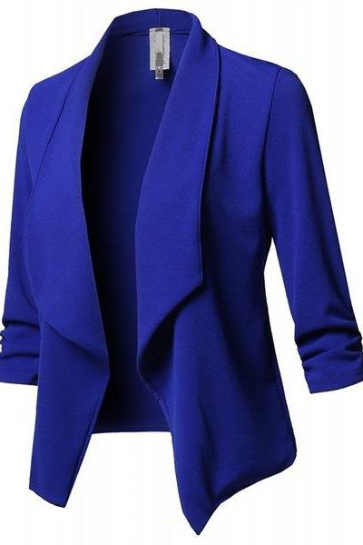 Women Suit Coat Casual Long Sleeve Autumn Work Office Business Slim Basic Long Blazer Jacket Outerwear royal blue
