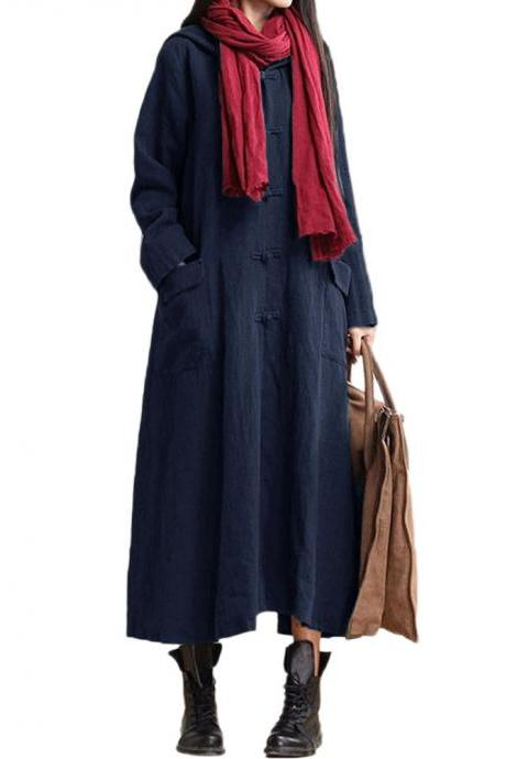 Autumn Women Maxi Dress Loose V Neck Long Sleeve Hooded Cotton Linen Plus Size Casual Long Dress navy blue