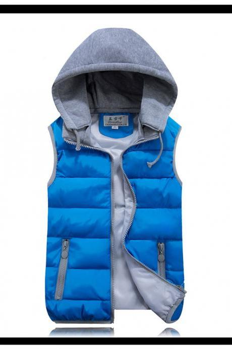Kids Girls Boys Down Cotton Waistcoat Zipper Winter Warm Thicken Vest Hooded Children Sleevess Coat Jacket blue