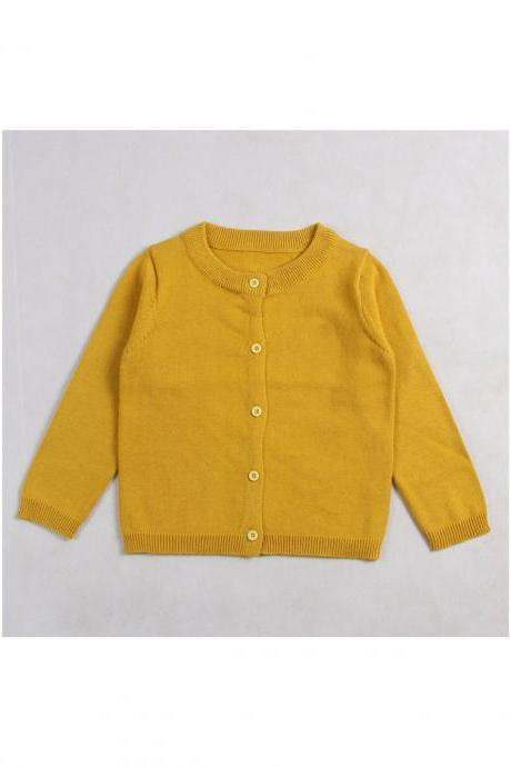 Baby Kids Boys Girls Knitted Cardigan Autumn Winter Buttons Children Sweater Coat Jacket bright yellow