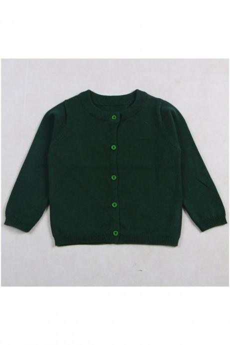 Baby Kids Boys Girls Knitted Cardigan Autumn Winter Buttons Children Sweater Coat Jacket hunter green