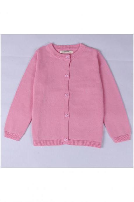 Baby Kids Boys Girls Knitted Cardigan Autumn Winter Buttons Children Sweater Coat Jacket pink