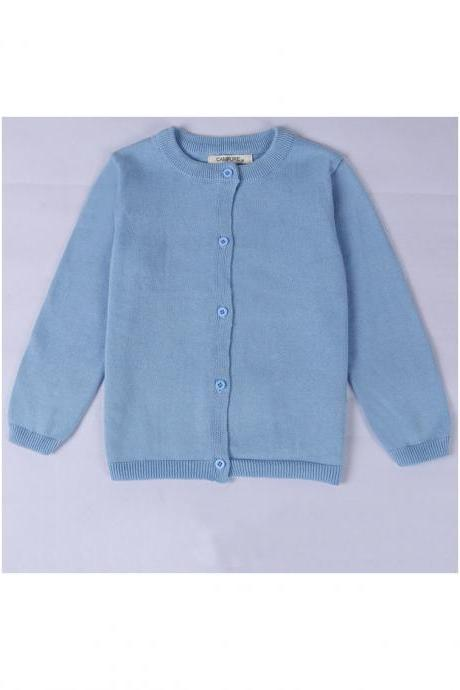 Baby Kids Boys Girls Knitted Cardigan Autumn Winter Buttons Children Sweater Coat Jacket sky blue
