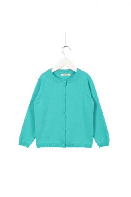 Baby Kids Boys Girls Knitted Cardigan Autumn Winter Buttons Children Sweater Coat Jacket turquoise