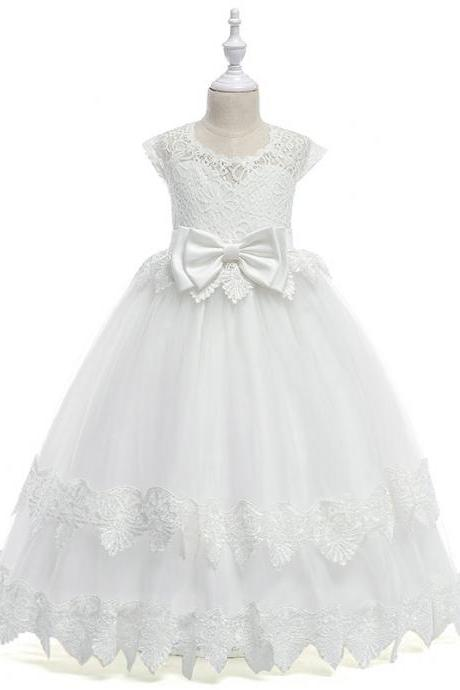 Long Flower Girl Dress Lace Cap Sleeve Princess Teens Wedding Formal Party Tutu Gown Children Clothes off white