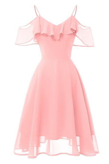 Women Casual Chiffon Dress Ruffles Spaghetti Strap Off the Shoulder Sleeveless A Line Formal Party Dress pink