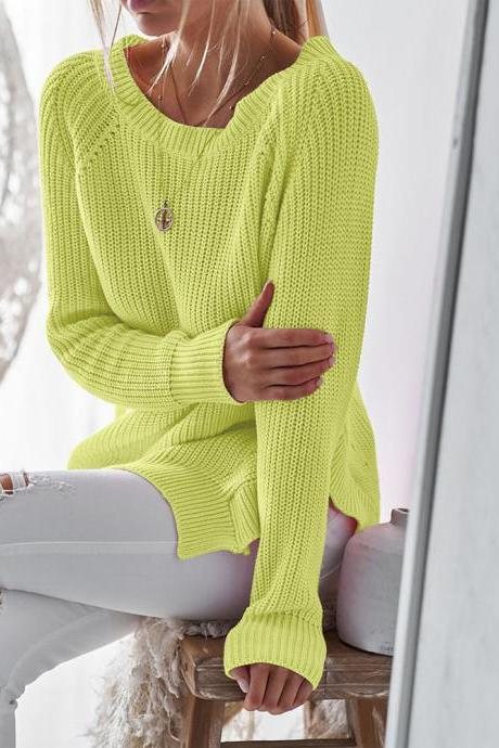 Women Knitted Sweater Spring Autumn O Neck Long Sleeve Side Split Casual Pullover Tops yellow