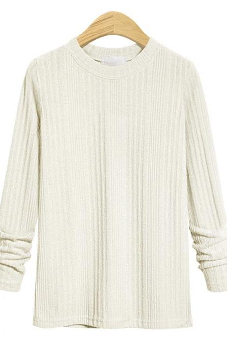 Plus Size Women Knitted Sweater Spring Autumn O Neck Long Sleeve Slim Pullover Tops off white