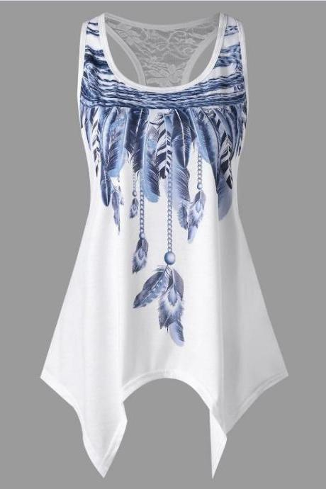Women Asymmetrical Tank Tops Feather Printed Lace Summer Beach Casual Loose Plus Size Sleeveless T Shirt blue