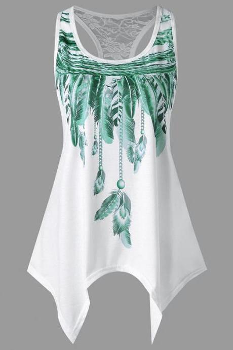 Women Asymmetrical Tank Tops Feather Printed Lace Summer Beach Casual Loose Plus Size Sleeveless T Shirt green