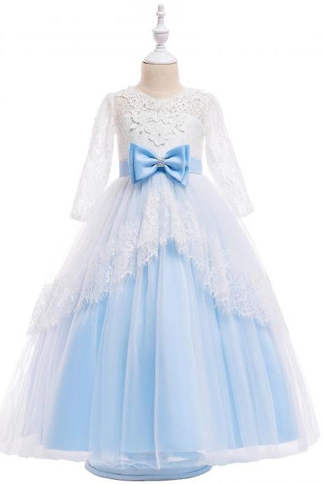 Lace Flower Girl Dress Long Sleeve Princess Teens Wedding Holy Communion Party Gown Children Clothes light blue
