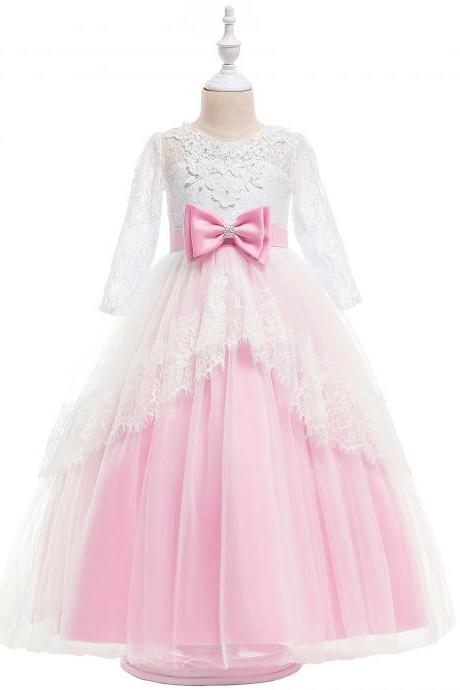Lace Flower Girl Dress Long Sleeve Princess Teens Wedding Holy Communion Party Gown Children Clothes pink