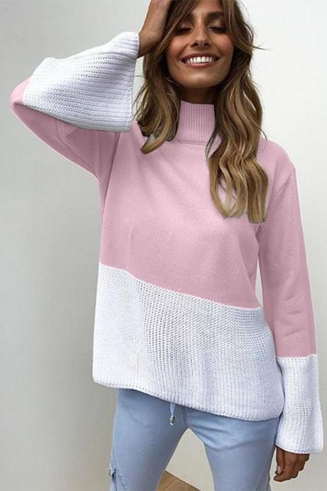 Women Knitted Sweater Autumn Winter Turtleneck Patchwork Casual Loose Long Flare Sleeve Pullover Tops pink