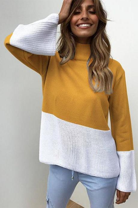 Women Knitted Sweater Autumn Winter Turtleneck Patchwork Casual Loose Long Flare Sleeve Pullover Tops yellow